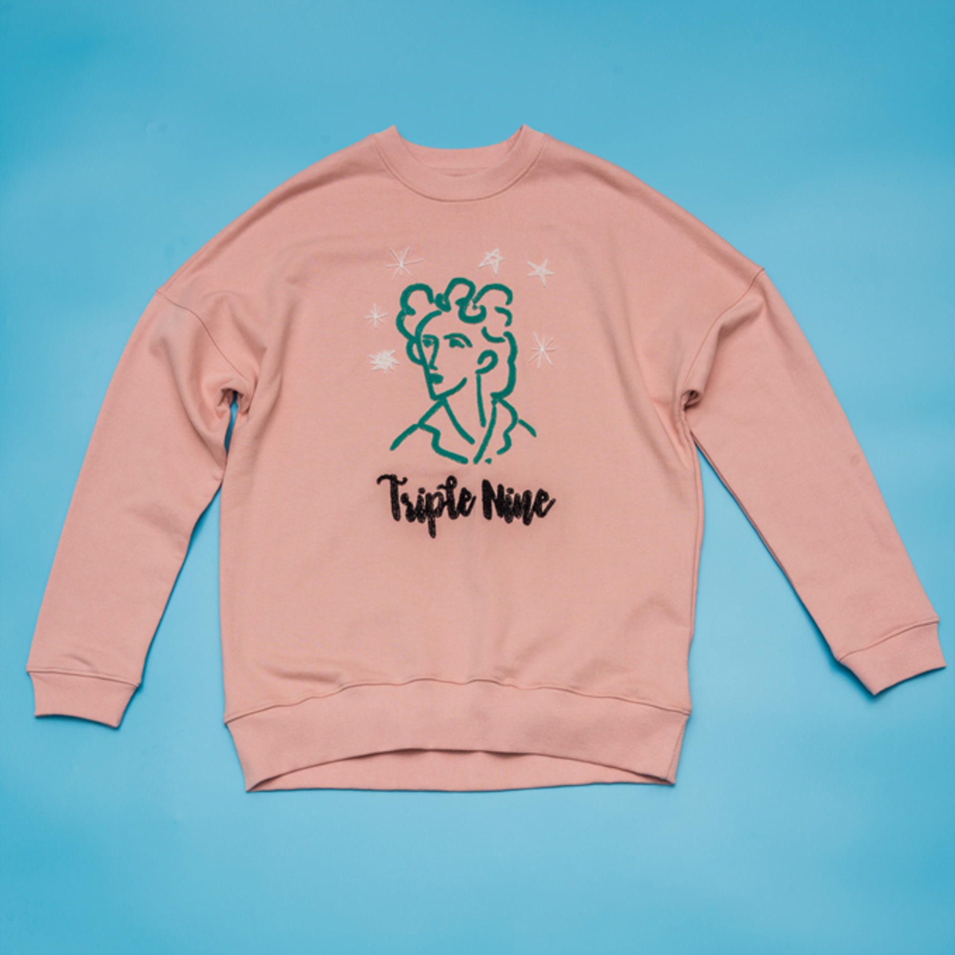 Portrait of Mom Embroidery Pink Sweatshirt