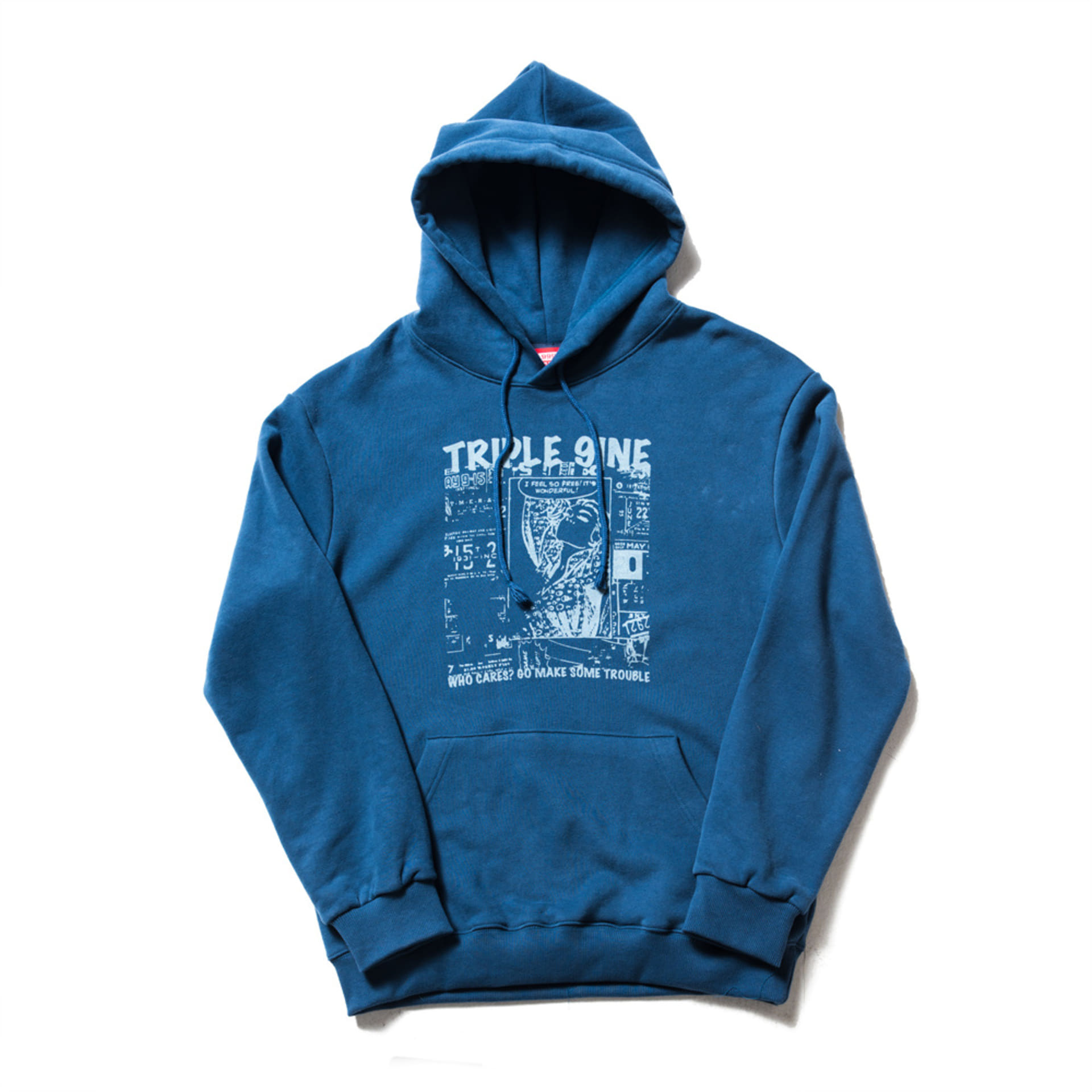 WHO CARES BLUE HOODIE